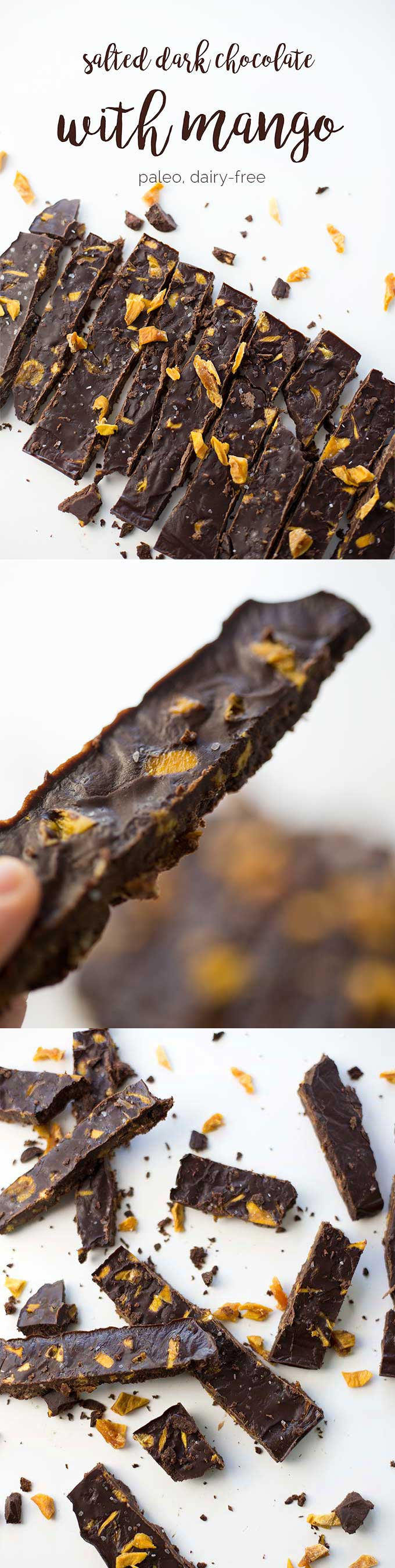 Salted Dark Chocolate with Mango – dairy-free chocolate bursting with chunks of dried mango and sprinkled with sea salt. Just one of many Paleo Dark Chocolate Treats!