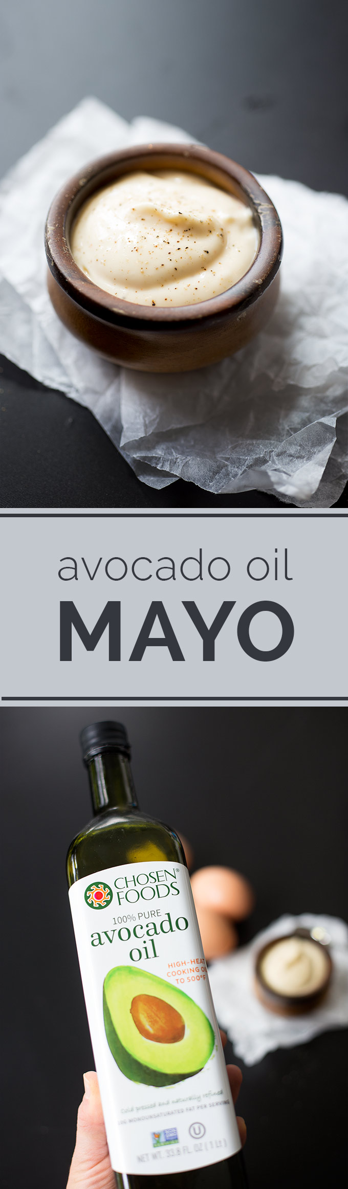 Avocado Oil Mayo - a much healthier option than store-bought mayos, which are made from highly processed vegetable oils. Simple to make and tastes amazing!