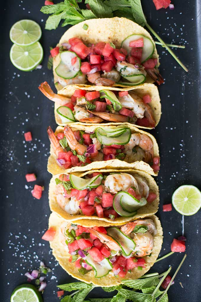 Shrimp Tacos with Watermelon Salsa