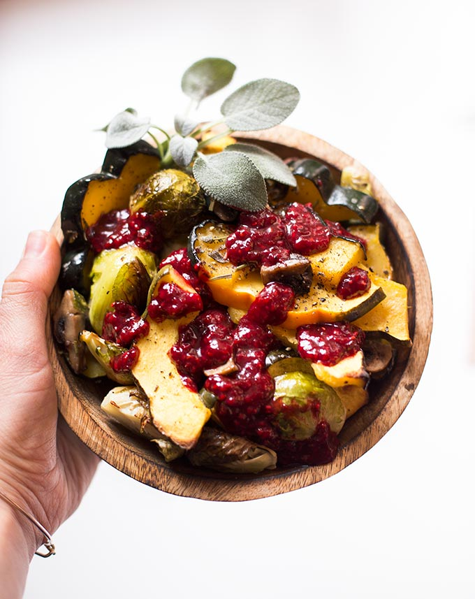 Roasted Rosemary Veggies with Chipotle Raspberry Sauce