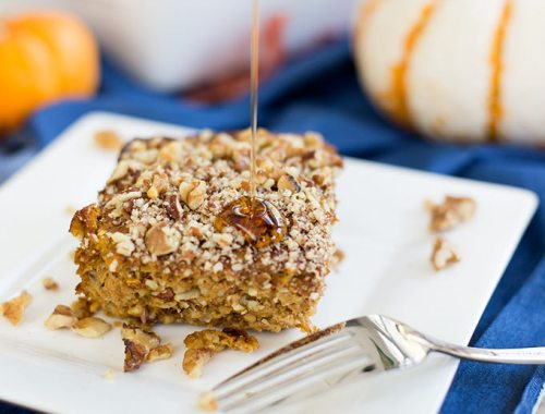 Pumpkin Oatmeal Bake: Steel-cut oats, pumpkin, maple syrup and cinnamon create a one-pan breakfast that's delicious hot out of the oven or cold on the go!