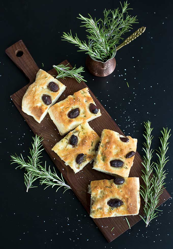 Rosemary Olive Focaccia Bread: A traditional Italian bread, this focaccia gets its delicious flavor from grated potato, olive oil and fresh rosemary.