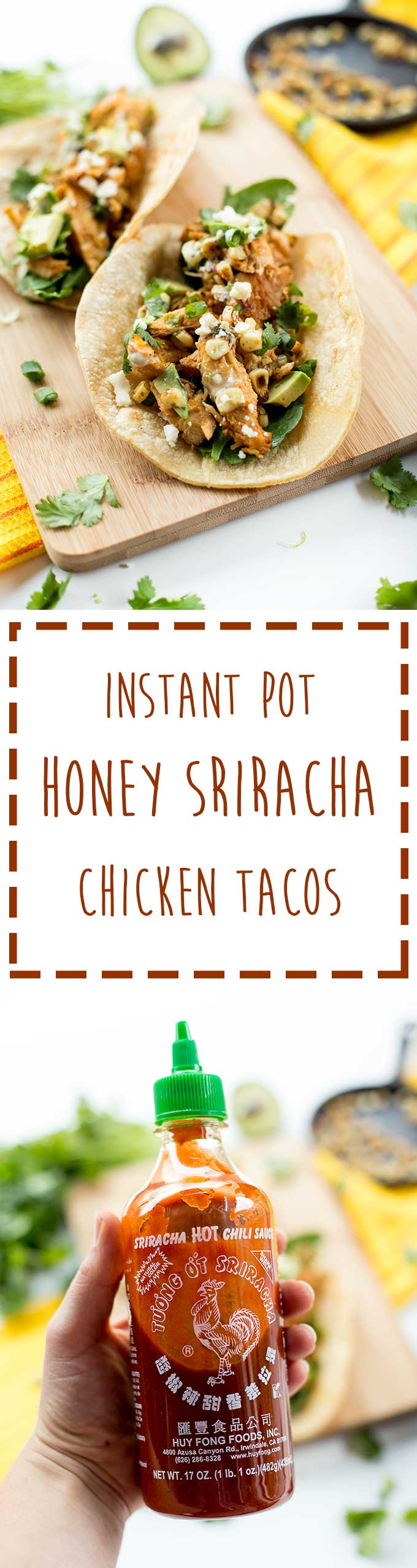 Instant Pot Honey Sriracha Tacos - just a handful of simple ingredients for these juicy, spicy chicken tacos. Wrapped in a warm corn tortilla and topped with avocado, blue cheese crumbles and cilantro.
