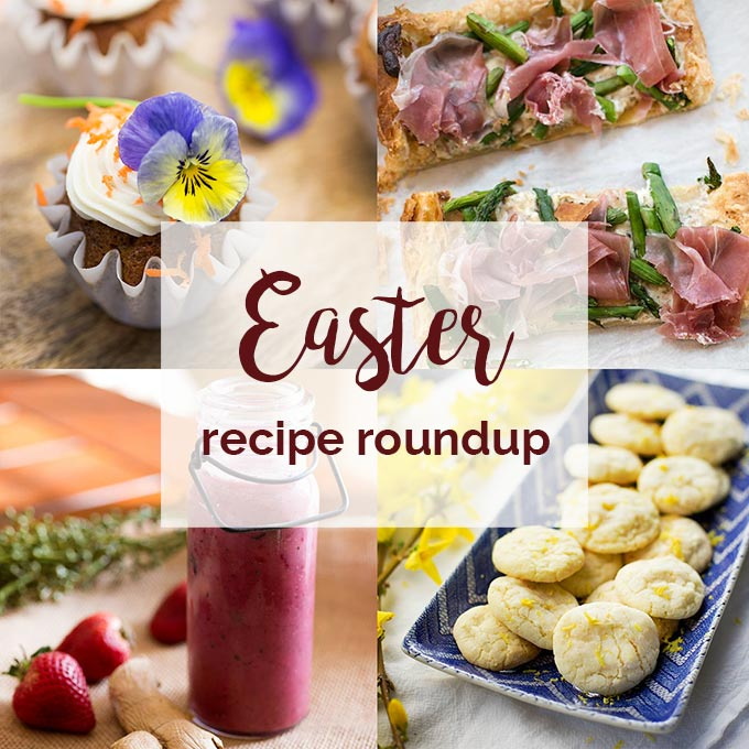 Easter Recipe Roundup: 5 recipes to make the perfect spring brunch: Prosciutto and Asparagus Tart, Feta and Vegetable Frittata, Immune-Boosting Strawberry Smoothie, Lemon Cookies and Carrot Cupcakes!