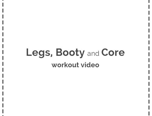 Legs, Booty and Core Workout Video! This is a great at-home workout to hit those legs, glutes (booty) and core! All you need is a yoga ball, some dumbbells and a resistance band to get a kick-butt workout from home.