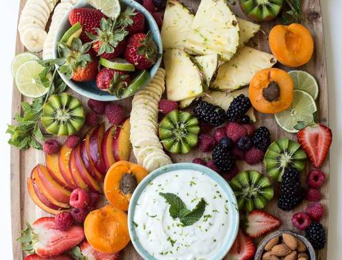 Summer Fruit Board: Cut up all your favorite fruits: melons, berries, peaches, nectarines, apricots...and add a simple honey lime yogurt dip for a simple, healthy summer treat!