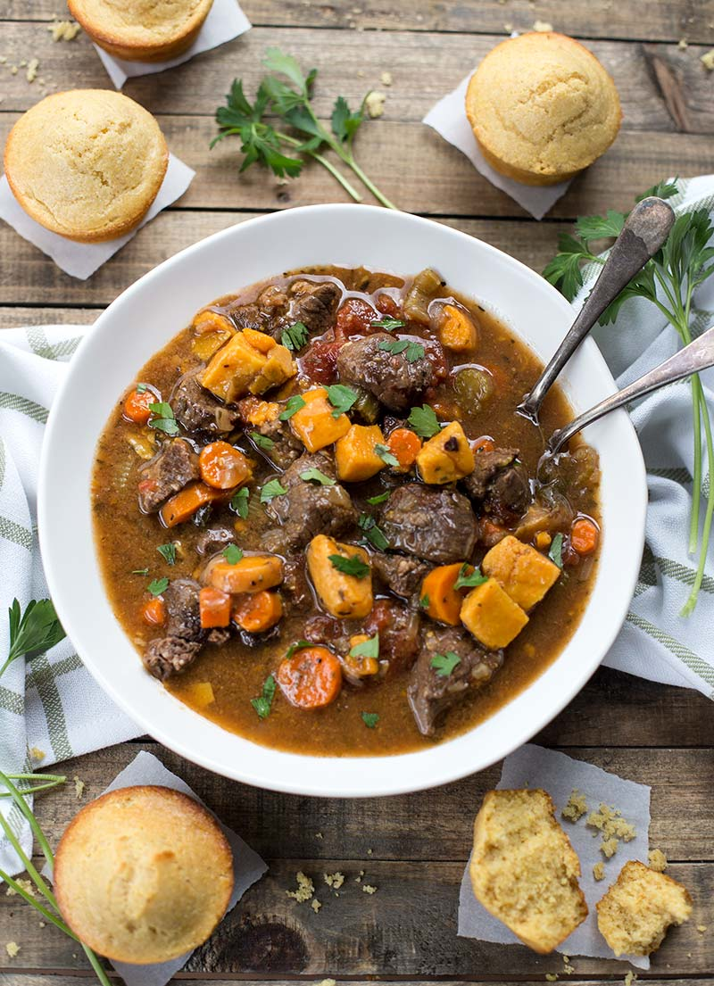 Easy Crockpot or Instant Pot Beef Stew: beef, vegetables, herbs and spices combined in a thick, fragrant sauce. Easy and delicious!