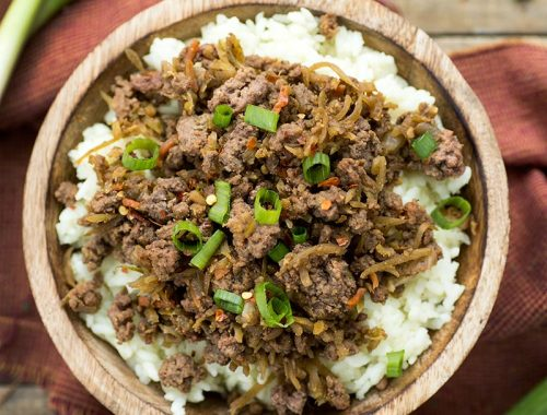 Easy Freezer Korean Bulgogi - ground beef is cooked with cabbage, honey, ginger and sriracha for a sweet and spicy Korean dish. Make a big batch and freeze!