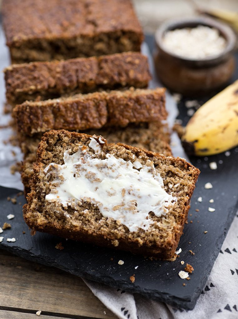 Oat Flour Banana Bread - a dense, chewy banana bread made from oat flour! Gluten free and refined sugar free. A delicious, healthy treat!