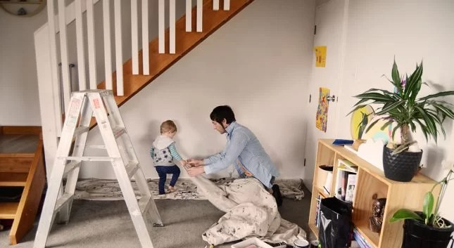 Under-stairs-kids-study-nook-dropsheets