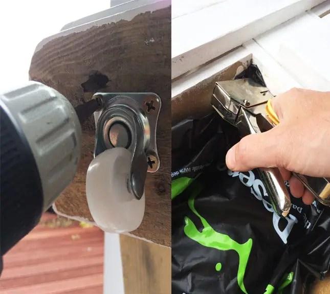 DIY-Pallet-Coffee-Table-Castors-stapler