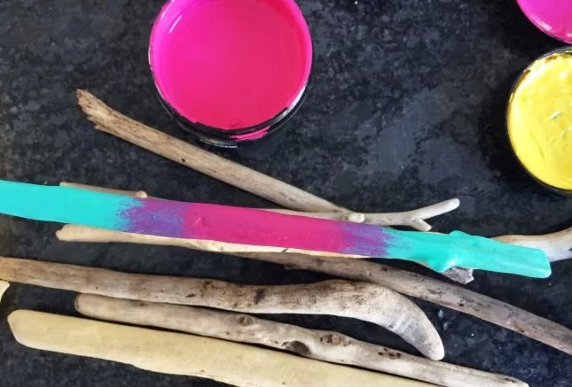 Painted driftwood mirror mixed colour