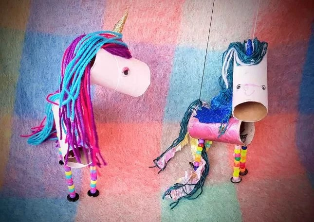 Toilet roll Unicorn marionette with wings