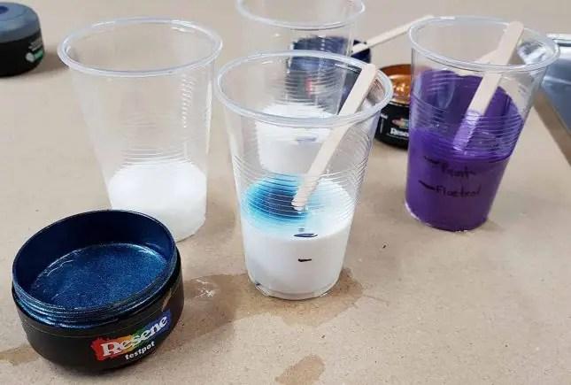 Matariki star acrylic pours Resene paint mix