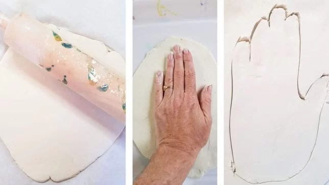Air Dry Clay Hand Dish rolling