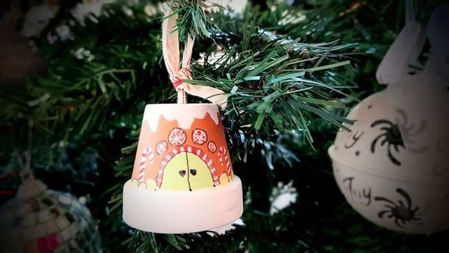 DIY Clay Pot Christmas Craft Gingerbread house in tree