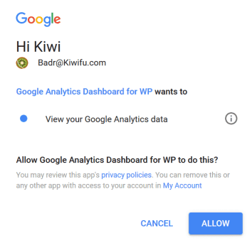 Allow Google Analytics Dashboard for WP