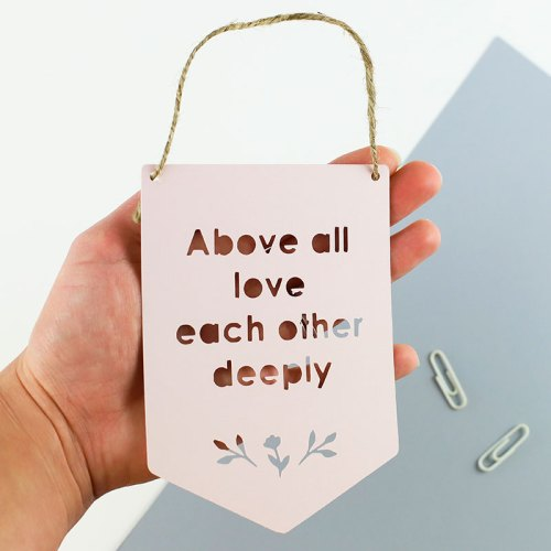 """Mini """"Above All"""" Paper Cut flag – Above all love each other deeply"""