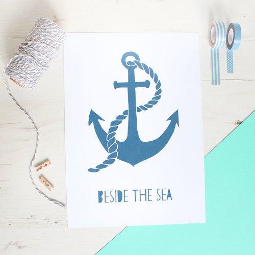 Anchor 'Beside The Sea' Print