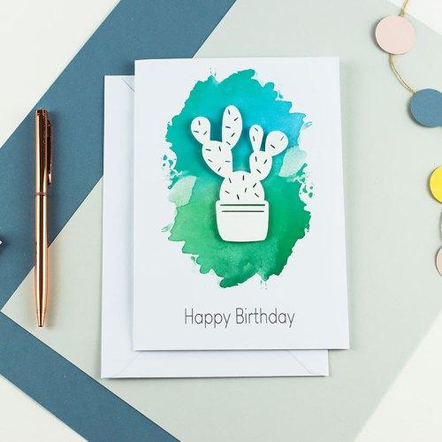 Cacti 3D Paper Cut Card