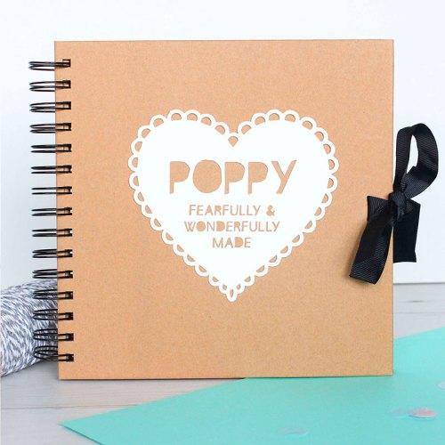 Personalised New Baby Heart Scrapbook