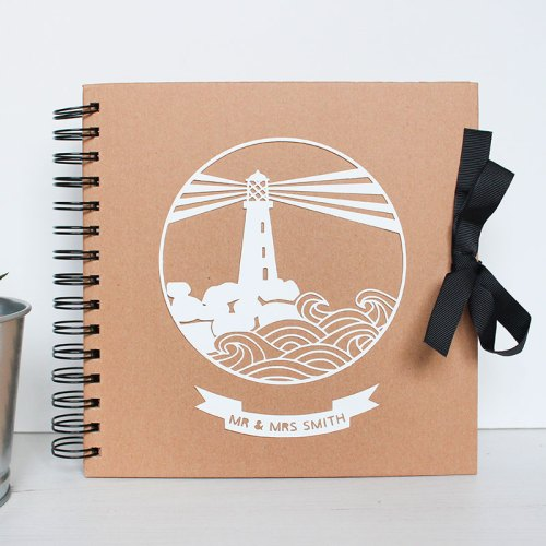 Personalised Couple's Lighthouse Scrapbook