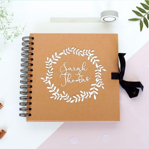Personalised Couple's Laurel Wreath Scrapbook