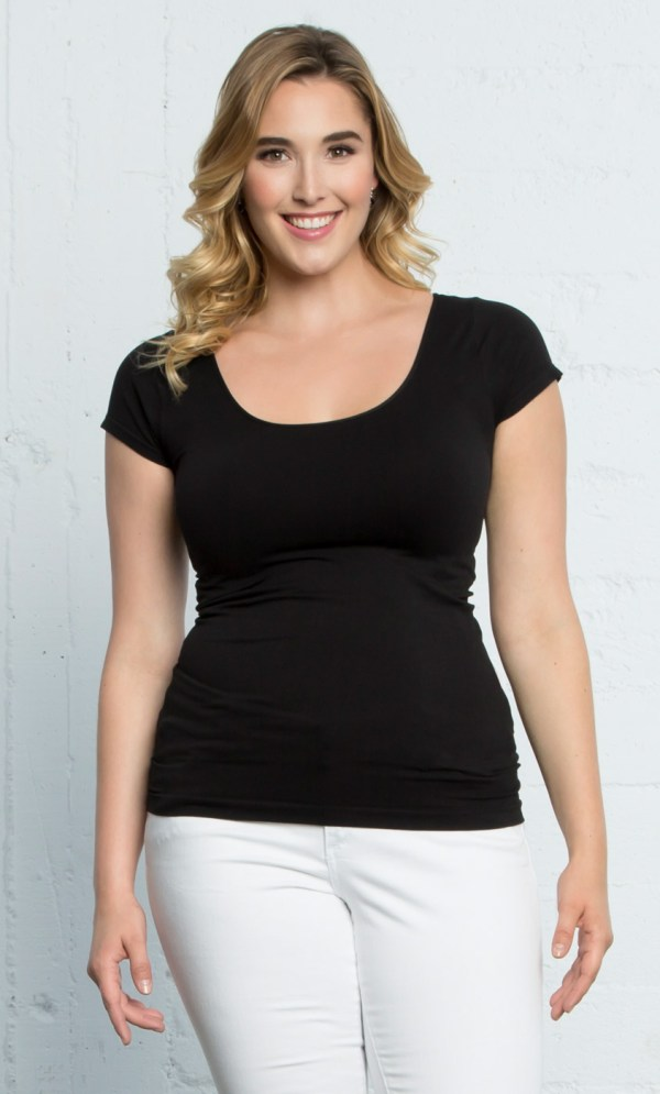 Plus Size Plain T-Shirt | Basic Cap Sleeve Tee | Kiyonna
