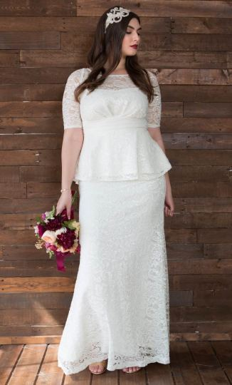 Plus Size Mermaid Wedding Dress   Peplum Wedding Gown