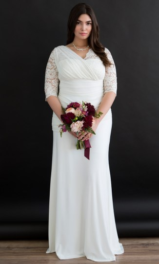 Plus Size Lace Wedding Gown   Half Sleeve Wedding Gown