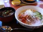 さっぱりカペリーニ冷麺風&ミニ牛カルビ丼