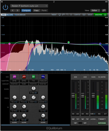 Image of DMG Audio EQuilibrium in action on a project showing possible mid and side bottom shelving audio mastering EQ techniques for mono sub bass - essential for vinyl cutting, radio and club systems. It also shows with excellent steep Chebyshev top cut filters, one of the many options available.