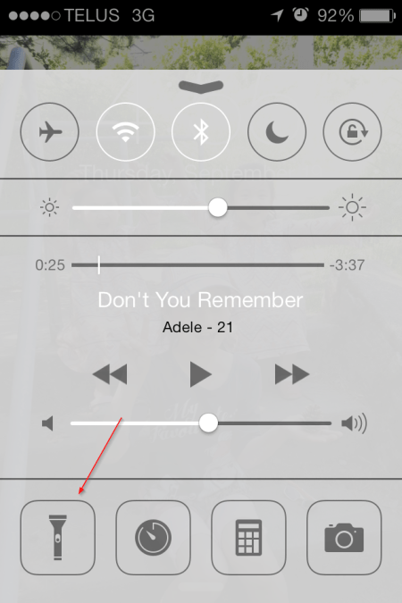 Flashlight on control center - Flashlight on control center