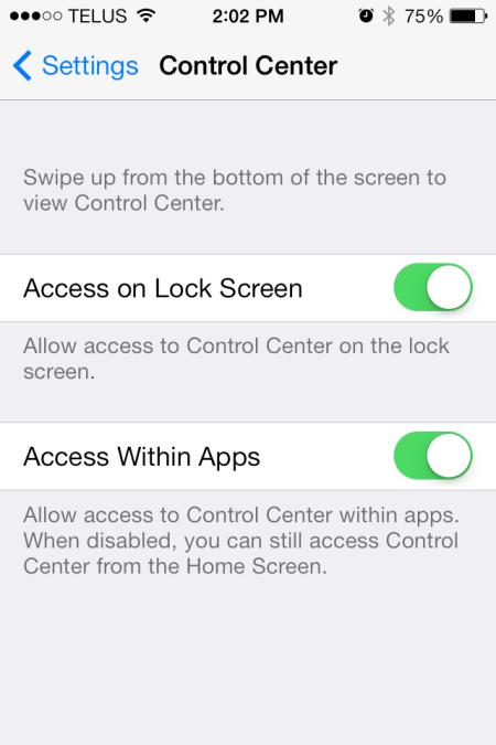 iOS 7 Control Center Setting - iOS 7 - Control Center Setting