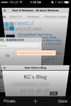 iOS 7 - Safari Swipe to close the tab