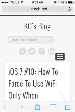 iOS 7 - Safari access the tab view