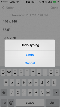 Shake to undo on iPhone
