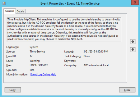 Event Viewer Time Services - Event Viewer - Time Services