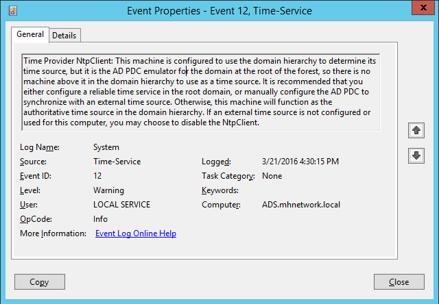 Event Viewer Time Services - Configuring AD Server to Sync Time with External NTP Server