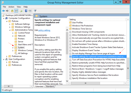 Group Policy System specify settings - Group Policy - System - specify settings