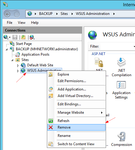 IIS to remove WSUS Administration - Fixing Failed to Start and Configure the WSUS Service in Windows Server 2012 R2