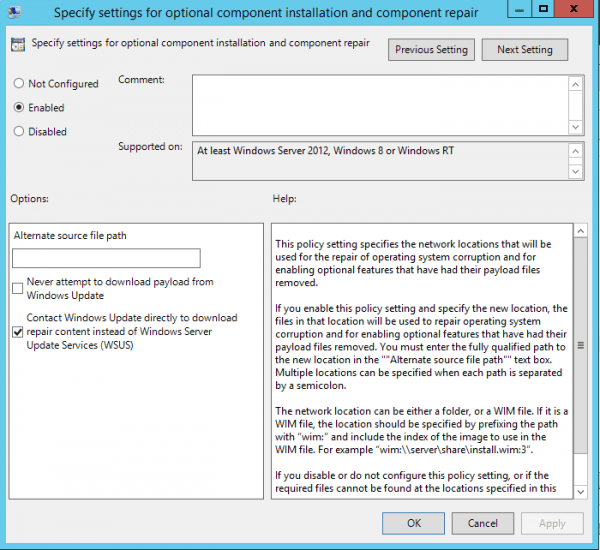 Local Group Policy Specify settings for optional component installation and component repair 600x550 - How To Fix Failed to Install .Net 3.5 on Windows Server 2012