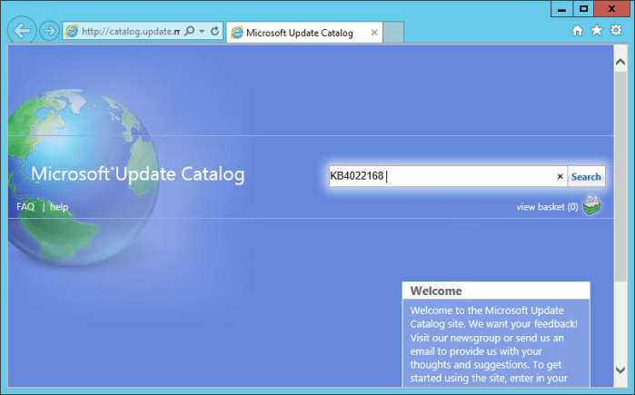 WSUS Microsoft Update Catalog home page - How To Import Hotfixes, Optional Updates Manually into WSUS