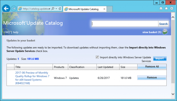 WSUS Microsoft Update Catalog updates list view basket 600x343 - How To Import Hotfixes, Optional Updates Manually into WSUS