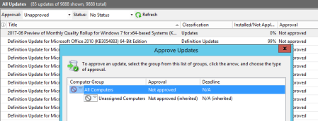 WSUS approve updates - WSUS - approve updates