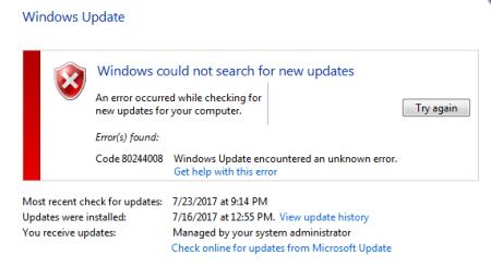 Windows Update error 80244008 Windows 7 - Windows Update error 80244008 - Windows 7