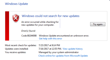 Windows Update error 80244008 Windows 7 - Windows Update error 80244008 - Windows 7