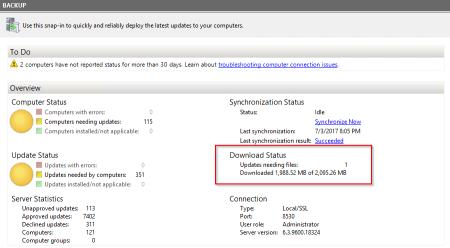 wsus server download status - wsus - server download status