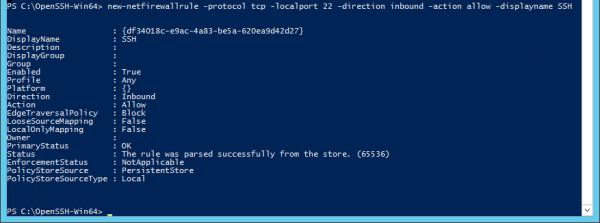 PowerShell - open SSH port
