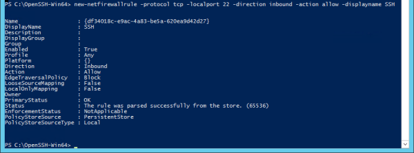 PowerShell - open SSH port